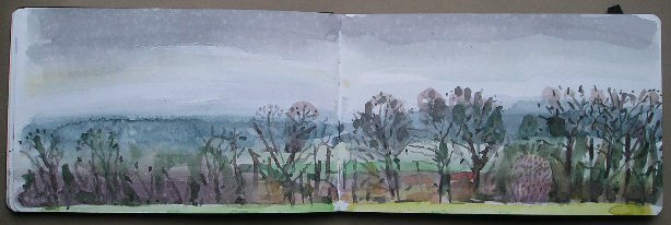 Faringdon Folly sketchbook view to North