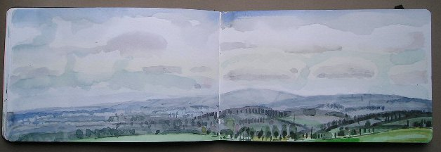 Faringdon Folly sketchbook view to South